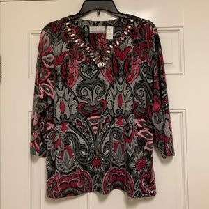 Alfred Dunner embellished paisley blouse